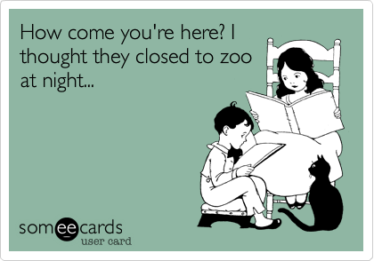 How come you're here? I thought they closed to zoo at night...
