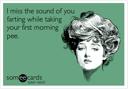 I miss the sound of you farting while taking your first morning pee.