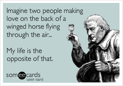 Imagine two people making love on the back of a winged horse flying through the air...    My life is the opposite of that.