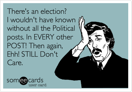 There's an election? I wouldn't have known without all the Political posts. In EVERY other POST! Then again, Ehh! STILL Don't Care.