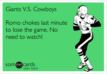 Giants Vs Cowboys Romo Chokes Last Minute To Lose The Game No