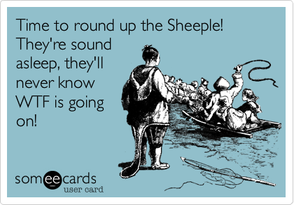 Time to round up the Sheeple! They're sound asleep, they'll never know WTF is going on!