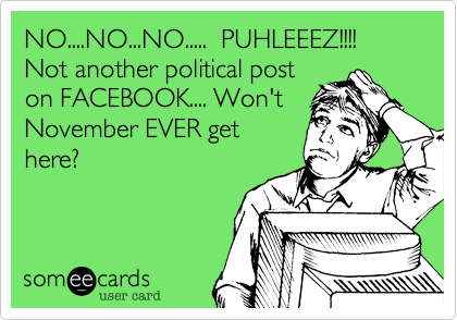NO....NO...NO.....  PUHLEEEZ!!!! Not another political post on FACEBOOK.... Won't November EVER get here?