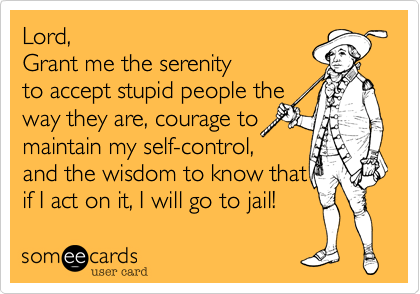 Lord,  Grant me the serenity to accept stupid people the way they are, courage to maintain my self-control, and the wisdom to know that if I act on it, I will go to jail!
