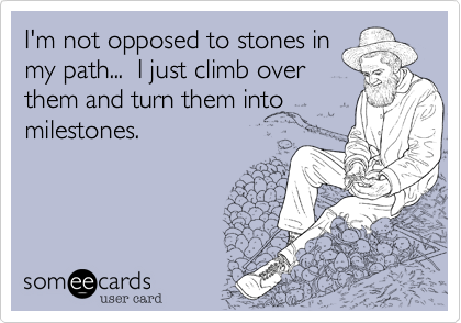 I'm not opposed to stones in my path...  I just climb over them and turn them into milestones.