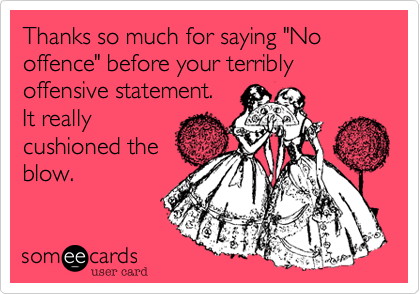 """Thanks so much for saying """"No offence"""" before your terribly offensive statement.   It really cushioned the blow."""