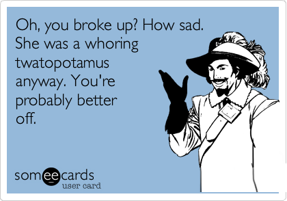 Oh, you broke up? How sad.She was a whoringtwatopotamusanyway. You'reprobably betteroff.