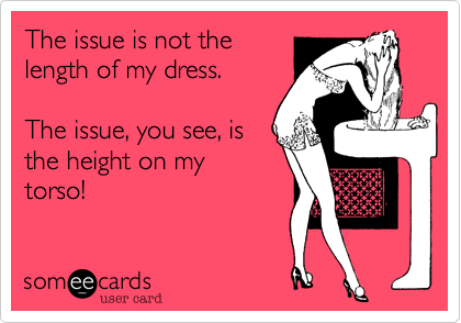 The issue is not thelength of my dress.  The issue, you see, isthe height on mytorso!