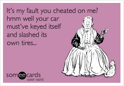 It's my fault you cheated on me? hmm well your car  must've keyed itself  and slashed its own tires...