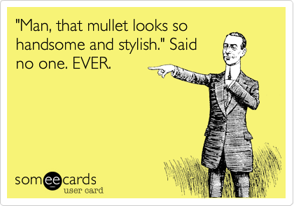 """""""Man, that mullet looks sohandsome and stylish."""" Saidno one. EVER."""