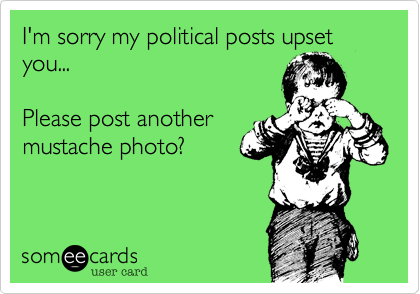 I'm sorry my political posts upset you...Please post anothermustache photo?