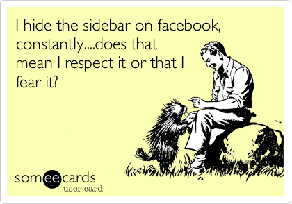 I hide the sidebar on facebook, constantly....does that