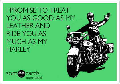 I PROMISE TO TREATYOU AS GOOD AS MYLEATHER ANDRIDE YOU ASMUCH AS MYHARLEY