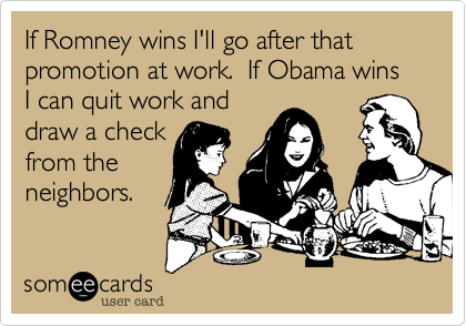 If Romney wins I'll go after that promotion at work.  If Obama wins I can quit work and