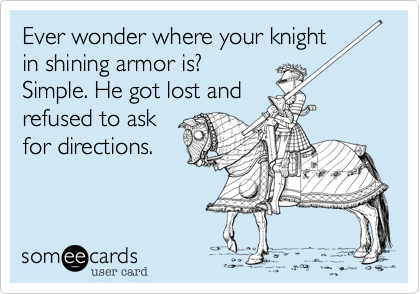 Ever wonder where your knightin shining armor is?Simple. He got lost andrefused to askfor directions.