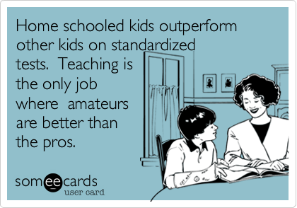 Home schooled kids outperformother kids on standardizedtests.  Teaching is the only jobwhere  amateursare better than the pros.