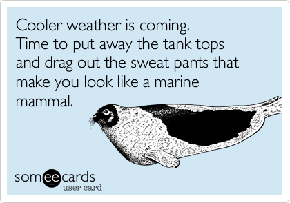Cooler weather is coming.Time to put away the tank topsand drag out the sweat pants that make you look like a marine mammal.
