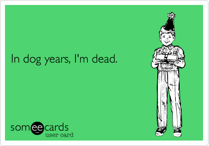 In dog years, I'm dead.