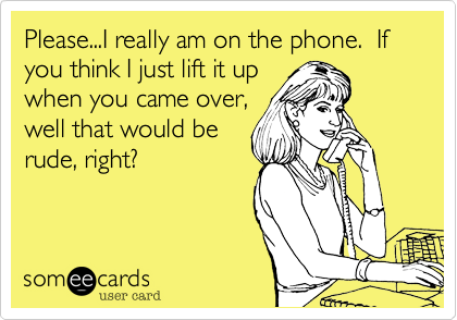 Please...I really am on the phone.  If you think I just lift it up