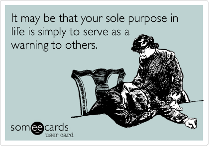 It may be that your sole purpose in life is simply to serve as a 