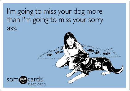 I'm going to miss your dog more than I'm going to miss your sorry ass.