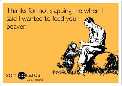 Thanks for not slapping me when I said I wanted to feed yourbeaver.