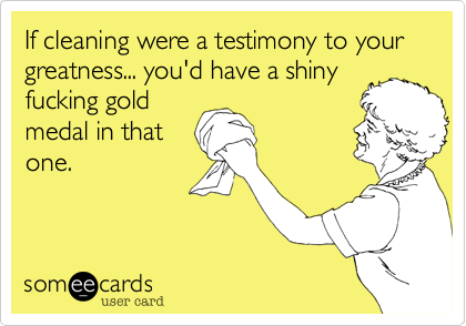 If cleaning were a testimony to your greatness... you'd have a shinyfucking goldmedal in thatone.