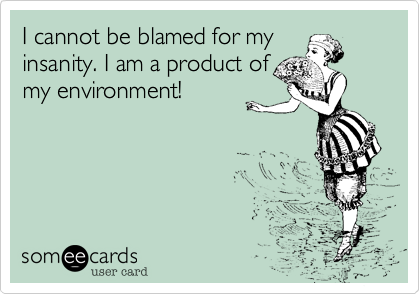 I cannot be blamed for myinsanity. I am a product ofmy environment!