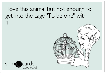 """I love this animal but not enough to get into the cage """"To be one"""" with it."""