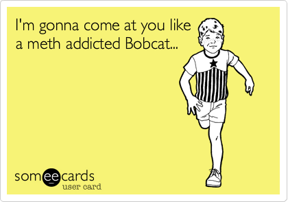 I'm gonna come at you likea meth addicted Bobcat...