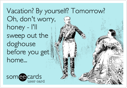 Vacation? By yourself? Tomorrow? Oh, don't worry, honey - I'llsweep out thedoghousebefore you gethome...