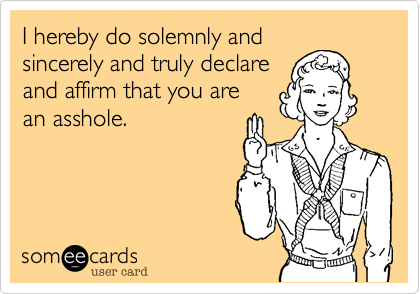 I hereby do solemnly and sincerely and truly declare and affirm that you are an asshole.
