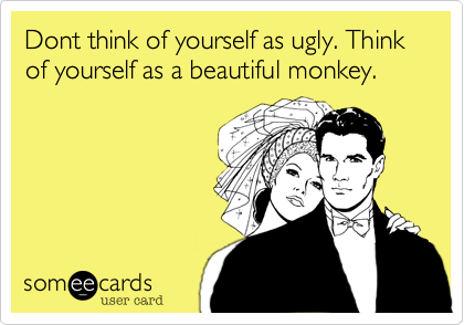 Dont think of yourself as ugly. Think of yourself as a beautiful monkey.