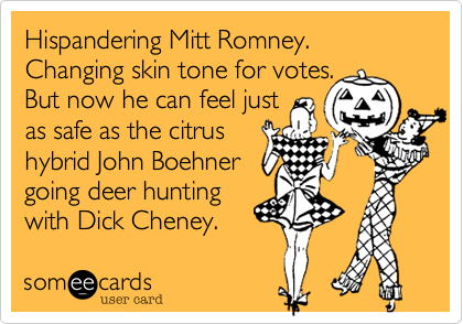 Hispandering Mitt Romney. Changing skin tone for votes. 