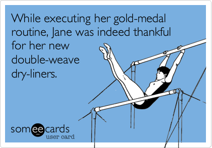 While executing her gold-medal routine, Jane was indeed thankful for her new