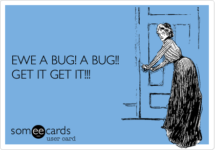EWE A BUG! A BUG!! GET IT GET IT!!!