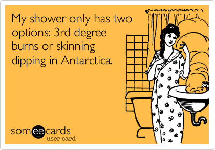 My shower only has twooptions: 3rd degreeburns or skinningdipping in Antarctica.