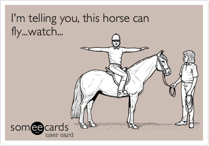 I'm telling you, this horse can fly...watch...