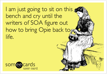 I am just going to sit on thisbench and cry until thewriters of SOA figure outhow to bring Opie back tolife.