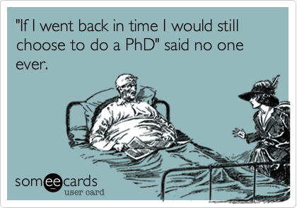 """If I went back in time I would still choose to do a PhD"" said no one ever."