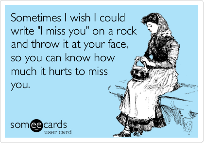Sometimes I Wish I Could Write I Miss You On A Rock And Throw It