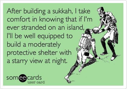 After building a sukkah, I takecomfort in knowing that if I'm ever stranded on an island,I'll be well equipped to build a moderatelyprotective shelter witha starry view at night.