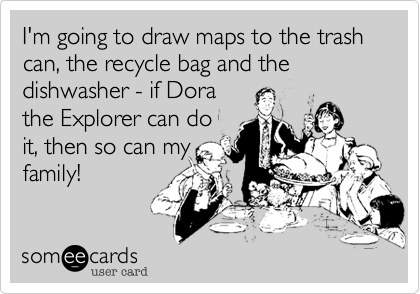 I'm going to draw maps to the trash can, the recycle bag and the dishwasher - if Dorathe Explorer can doit, then so can myfamily!