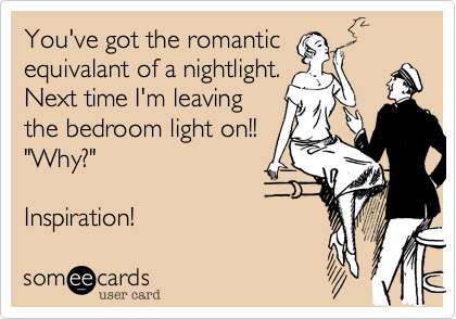 """You've got the romanticequivalant of a nightlight.Next time I'm leavingthe bedroom light on!!  """"Why?""""Inspiration!"""