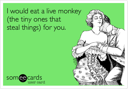 I would eat a live monkey (the tiny ones thatsteal things) for you.