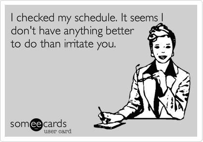 I checked my schedule. It seems I don't have anything better to do than irritate you.