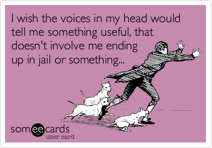 I wish the voices in my head would tell me something useful, that doesn't involve me ending