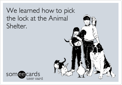 We learned how to pickthe lock at the AnimalShelter.