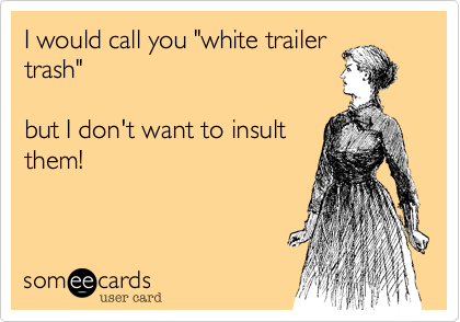 """I would call you """"white trailertrash""""but I don't want to insultthem!"""