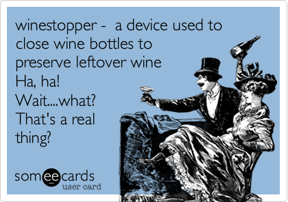 winestopper -  a device used to close wine bottles topreserve leftover wineHa, ha!Wait....what? That's a real thing?